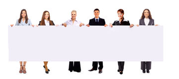 Group of business people holding. A banner ad isolated on white Royalty Free Stock Image