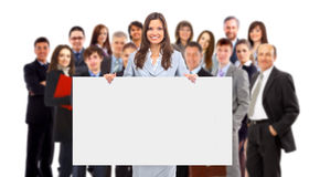 Group of business people holding. A banner ad isolated on white Stock Image