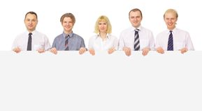 Group of business people holding. A banner ad isolated on white Royalty Free Stock Photo