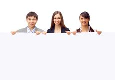 Group of business people holding. A banner ad isolated on white Stock Images