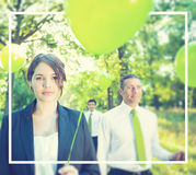 Group Business People Holding Balloons Concept. Group business people holding balloons forest Royalty Free Stock Photo