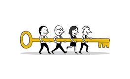 Group of business people holding big key forward to success. creative teamwork concept. isolated illustration outline hand vector illustration