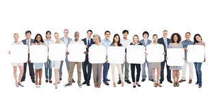 Group of Business People Holding Blank Board.  Royalty Free Stock Image