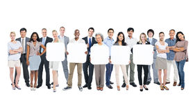 Group of Business People Holding Blank Board Stock Photo