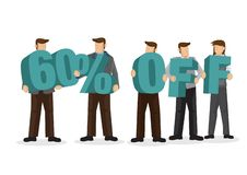 Group of business people holding giant alphabet to form 60 perce stock illustration