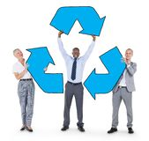 Group of Business People Holding Recycle Symbol Stock Image