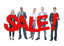 Group of Business People Holding SALE.  royalty free stock photo