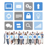 Group of Business People Holding Word Teamwork Stock Images