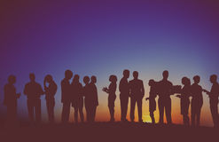 Group Business People Interaction Silhouette Concept Royalty Free Stock Photography