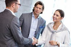 Group of business people introducing one another stock image
