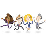 Group of business people jumping and smiling. Vector illustration of a group of cartoon business people (two women and two men) jumping and smiling Royalty Free Stock Image