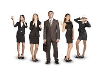 Group of business people with leader on foreground Stock Images