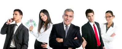 Group of business people in a line row isolated Stock Photography