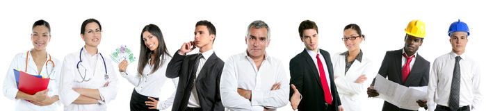Group of business people in a line row isolated Royalty Free Stock Photos