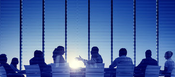 Group of Business People Meeting Back Lit Concept Stock Photos