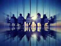 Group of Business People Meeting Back Lit Concept.  Royalty Free Stock Images