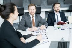 Group of Business People Meeting in Board Room royalty free stock image