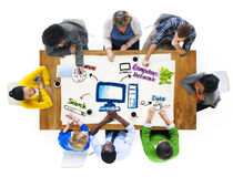 Group of Business People Meeting with Computer Network Concept.  Royalty Free Stock Photography