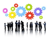 Group of Business People Meeting with Gears Stock Images