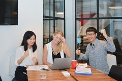 Group of business people meeting in a meeting room royalty free stock photography
