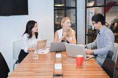 Group of business people meeting in a meeting room, sharing thei. R ideas, Multi ethnics Royalty Free Stock Images