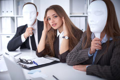 Group of business people at a meeting. Negative concept, Lack of understanding, lack of agreement.  Stock Photos