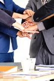 Group business people meeting shaking hands together, busines. Group of business people meeting shaking hands together, business outdoor meeting concept royalty free stock images