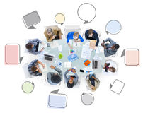 Group of Business People Meeting with Speech Bubbles Stock Photography