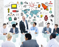 Group of Business People Meeting with Symbols Royalty Free Stock Images