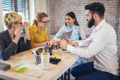 Group business people meeting to discuss ideas. In modern office Royalty Free Stock Images