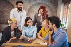 Free Group Business People Meeting To Discuss Ideas In Modern Office. Royalty Free Stock Images - 130249979