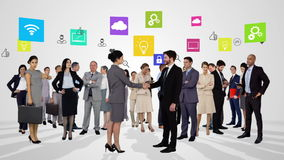 Group of business people meeting stock video
