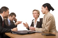 Group of business people, negotiate at the desk Royalty Free Stock Photography