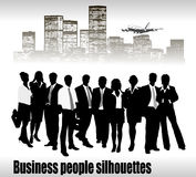 Group of business people and office Royalty Free Stock Photos