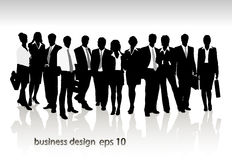 Group of business people and office Stock Images