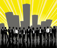Group of business people and office Stock Image