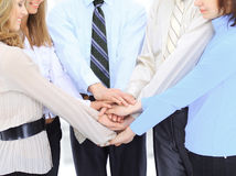 Group of business people in the office have combined hands together. Royalty Free Stock Photo