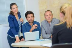 Group business people during office meeting Royalty Free Stock Image