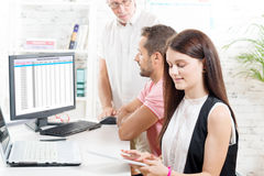 Group business people in office,. Women with tablet royalty free stock photos