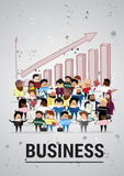 Group of Business People Over Financial Graph Arrow Up Success Businesspeople Mix Race Diverse Royalty Free Stock Images