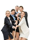 Group of business people pull the rope Royalty Free Stock Photography