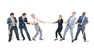 Group of Business People Pulling Rope Royalty Free Stock Image
