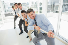 Group of business people pulling rope in office Royalty Free Stock Photos