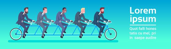 Group Of Business People Riding Tandem Bicycle Team And Teamwork Concept Horizontal Banner. Flat Vector Illustration Royalty Free Stock Images