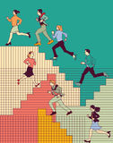 Group business people run upstairs carrier color. Royalty Free Stock Image