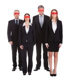 Group Of Business People's Eyes Covered With Ribbon Stock Photos