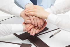 Group of business people's hands Royalty Free Stock Images