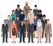 Group of business people. Set of flat men and women, office employee standing together. Teamwork concept. Vector illustration Stock Photo