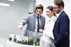 Group of business people sharing their ideas royalty free stock photo