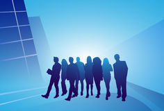 Group Of Business People Silhouette Businesspeople Walk Step Forward Over Abstract Background Royalty Free Stock Image